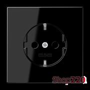 Розетка с заземлением, черный, пластик, Jung LS1520SW