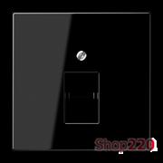 Накладка телефонной RJ12 и компьютерной RJ45 одинарных розеток, черный, пластик, Jung LS969-1UASW