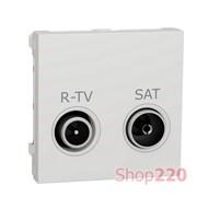 Розетка R-TV SAT одинарная, белый, 2 модуля, Unica New Schneider NU345418