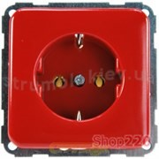 Розетка с заземлением, красный, Polo Regina 13000557