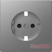 Накладка розетки электрической со шторками, нержавеющая сталь, Merten MTN2330-6036