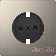 Накладка розетки электрической со шторками, никель (металл), Merten MTN2330-6050