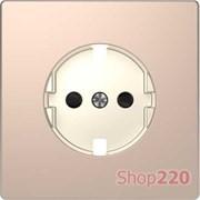 Накладка розетки электрической со шторками, шампань (металл), Merten MTN2330-6051