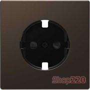 Накладка розетки электрической со шторками, мокко (металл), Merten MTN2330-6052