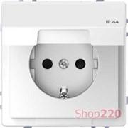 Розетка электрическая с крышкой, белый лотос, Merten MTN2314-6035