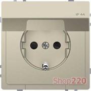 Розетка электрическая с крышкой, сахара, Merten MTN2314-6033