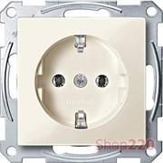 Розетка электрическая с заземлением, бежевый, Merten MTN2301-0344