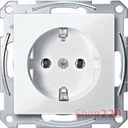Розетка электрическая с заземлением, полярно-белый, Merten MTN2301-0319