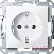 Розетка электрическая с заземлением, активный белый, Merten MTN2301-0325