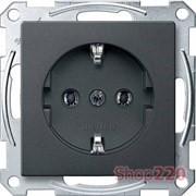 Розетка электрическая с заземлением, антрацит, Merten MTN2301-0414