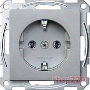 Розетка электрическая с заземлением, алюминий, Merten MTN2301-0460