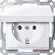 Розетка с заземлением и крышкой, активный белый, Merten MTN2311-0325