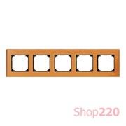 Рамка 5 постов, оранжевый кальцит, Merten M-Elegance Стекло MTN404502