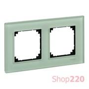 Рамка 2 поста, зеленый изумруд, Merten M-Elegance Стекло MTN404204