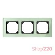 Рамка 3 поста, зеленый изумруд, Merten M-Elegance Стекло MTN404304
