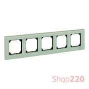 Рамка 5 постов, зеленый изумруд, Merten M-Elegance Стекло MTN404504