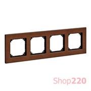 Рамка 4 поста, вишня, Merten M-Elegance Дерево MTN4054-3472