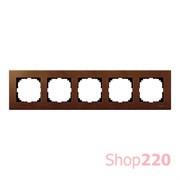 Рамка 5 постов, вишня, Merten M-Elegance Дерево MTN4055-3472