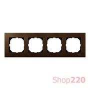 Рамка 4 поста, орех, Merten M-Elegance Дерево MTN4054-3473