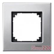 Рамка 1 пост, платина-серебро, Merten M-Elegance Металл MTN403160