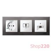 Рамка 3 поста, серый родий, Merten M-Elegance Металл MTN403314