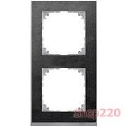 Рамка 2 поста, сланец/алюминий, Merten M-Pure MTN4020-3669