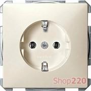 Розетка электрическая с заземлением, бежевый, Merten MTN2301-4044