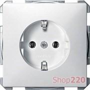 Розетка электрическая с заземлением, белый, Merten MTN2301-4019