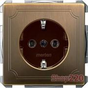 Розетка электрическая с заземлением, античная латунь, Merten MTN2301-4143