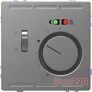 Терморегулятор для теплого пола с датчиком, нержавеющая сталь, Merten MTN5764-6036