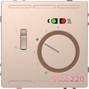 Терморегулятор для теплого пола с датчиком, шампань (металл), Merten MTN5764-6051