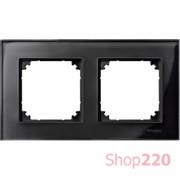 Рамка 2 поста, черный оникс, Merten M-Elegance Стекло MTN404203