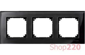 Рамка 3 поста, черный оникс, Merten M-Elegance Стекло MTN404303