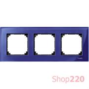 Рамка 3 поста, синий сапфир, Merten M-Elegance Стекло MTN4030-3278