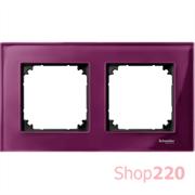 Рамка 2 поста, красный рубин, Merten M-Elegance Стекло MTN4020-3206