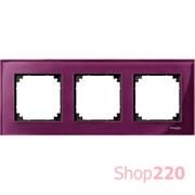 Рамка 3 поста, красный рубин, Merten M-Elegance Стекло MTN4030-3206
