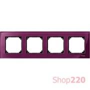 Рамка 4 поста, красный рубин, Merten M-Elegance Стекло MTN4040-3206