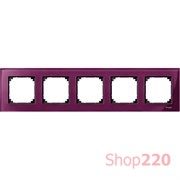 Рамка 5 постов, красный рубин, Merten M-Elegance Стекло MTN4050-3206