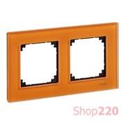Рамка 2 поста, оранжевый кальцит, Merten M-Elegance Стекло MTN404202