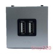 Розетка USB для зарядки, серебристый, Zenit ABB N2285 PL