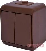 Выключатель 2-клавишный накладной, коричневый, IP 54 Hermetics ETI 4668041