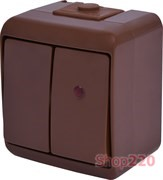 Выключатель 2-клавишный с подсветкой, накладной, коричневый, IP 54 Hermetics ETI 4668047