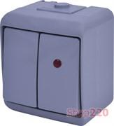 Выключатель 2-клавишный с подсветкой, накладной, серый, IP 54 Hermetics ETI 4668067