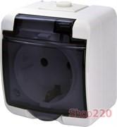Розетка накладная, белый/черная крышка, IP 54 Hermetics ETI 4668016
