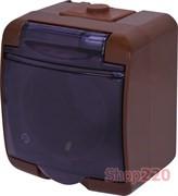 Розетка накладная, коричневый/черная крышка, IP 54 Hermetics ETI 4668051