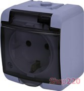 Розетка накладная, серый/черная крышка, IP 54 Hermetics ETI 4668071