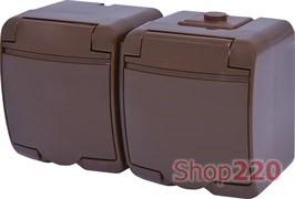 Розетка двойная накладная, коричневый, IP 54 Hermetics ETI 4668052