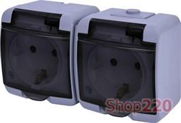 Розетка двойная накладная, серый/черная крышка, IP 54 Hermetics ETI 4668073