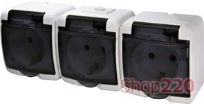 Розетка тройная накладная, белый/черная крышка, IP 54 Hermetics ETI 4668024