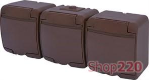 Розетка тройная накладная, коричневый, IP 54 Hermetics ETI 4668054